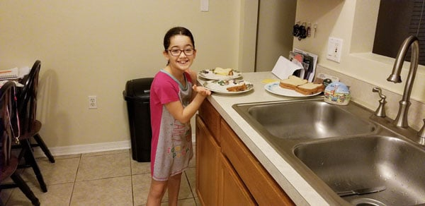 Homeschool learning in the kitchen